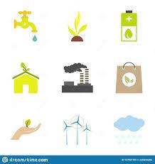 Types Of Energy Icons Set Flat Style Stock Illustration