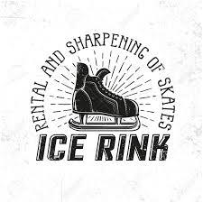 アイス スケート リンクの紋章としてレトロなホッケーのスケートグランジは別のレイヤーにテクスチャし