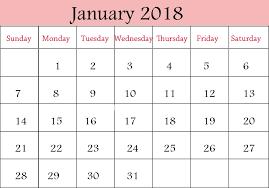 january 2018 printable calendar free printable calendar 2018