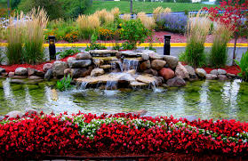 This is a beautiful flower garden with a beautiful water fountain.