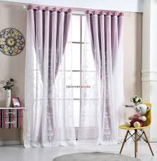 Purple Curtains For Bedroom Purple Floral Print And Embroidery Elegant Polyester Curtains For