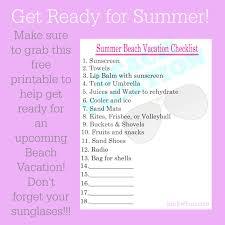 Summer Beach Vacation Free Printable Checklist Pinkwhen