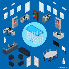 vector illustration office interior set office furniture stationery computer phone isometric furniture collection77 vector
