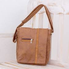 faux leather messenger bag in chestnut from costa rica tica lands