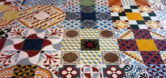 patchwork of hydraulic encaustic cement indoor outdoor tiles
