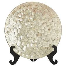 Decorative Platters And Bowls Capiz Shell Decorative Platter with Stand Goodglance 1