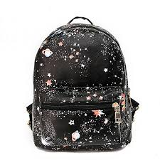 women faux leather galaxy pattern outdoor shoulder bag backpack school bag black cod