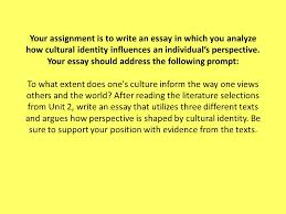 your assignment is to write an essay in which you analyze how  your assignment is to write an essay in which you analyze how cultural identity influences an