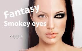 angelina jolie fantasy makeup smokey eyes in photo