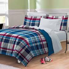 bed in a bag twin set varsity denim blue red plaid teen boy bedding xl full