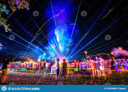 Party Lights That Go With Music Outdoor Night Music Party With Laser Lights And Fire