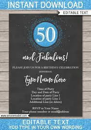 50th birthday invitations template save