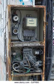 vandalised electrical fuse box electricity stock photos vandalised electrical fuse box and electricity meter in bucharest r ia stock image