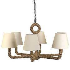 rope wrapped brown chandelier with linen shade