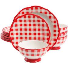 The Pioneer Woman Charming Check 12-Piece Dinnerware Sets - Walmart.com