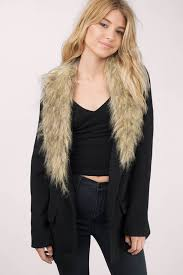 wintertime black faux fur wool coat