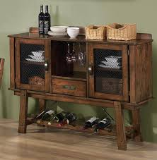 Rustic finish dining server with wine rack in dining room