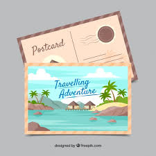 Travel Postcard Template With Adventrure Style Vector | Free Download