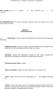 lease contract template commercial lease templates employee appraisal samples