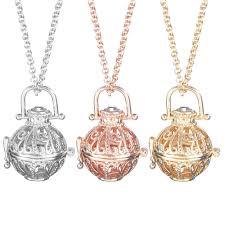 lava stone aromatherapy essential oil diffuser locket necklace pendant flower cod