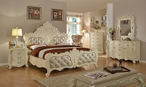 Novara French Ornate Crystal Tufted 4 Pc Queen Bedroom Set In Pearl White