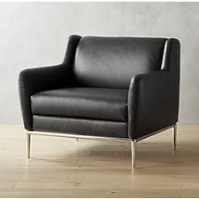 modern accent chairs. Alfred Black Leather Chair Modern Accent Chairs