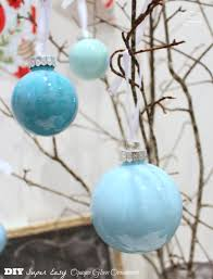 DIY Super Easy Opaque Glass Painted Ornaments {Blue Christmas