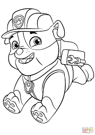 Paw Patrol Rubble With Backpack Super Coloring Colouring Paw