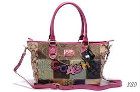 Coach Poppy Cute Logo Large Pink Multi Totes EMV