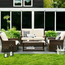 Halsted 4 Piece Wicker Patio Furniture Set Threshold™ Tar