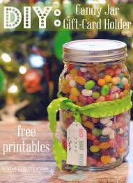 Decorating Mason Jars For Gifts DIY Candy Jar Gift Card Holder And Free Gift Printables 59