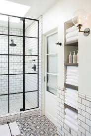 Fine Black And White Bathroom Tiles Glass Shower Door Walk In Alcove Shelving To Innovation Design