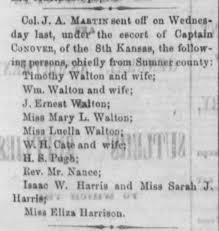 Timothy Walton and wife escorted by 8th Kansas from Sumner 1863 May 29 -  Newspapers.com