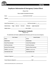 employer emergency contact form template 50 printable emergency contact form templates fillable