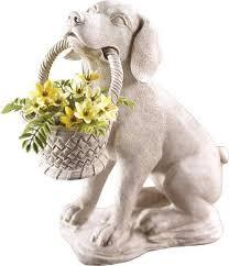 dog garden statue. Modren Dog Puppy Dog With Basket Garden Statue In