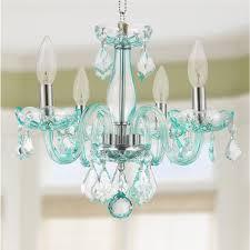 glamorous 4 light full lead turquoise blue crystal chandelier