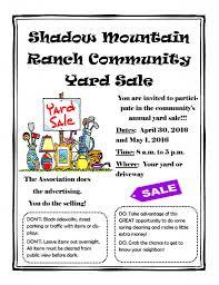 Shadow Mountain Ranch Community Yard Sale Shadow Mountain