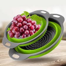 <b>1PC</b> Folding <b>Silicone</b> Colander Drain Basket With Handle <b>Vegetable</b> ...