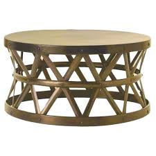 horizon hammered brass antique drum cross coffee table drum coffee table e20
