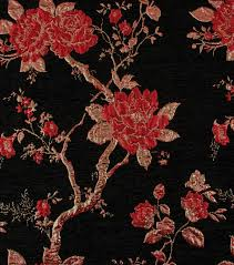 Floral Brocade Yaya Han Collection Velvet Floral Brocade Red