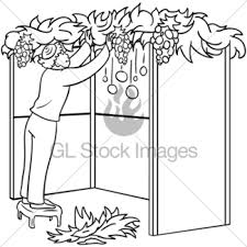 Small Picture Sukkah For Sukkot With Table Coloring Page GL Stock Images