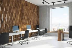 3D Office Design Adorable Wooden Diamond Wall Pattern Office Room Corner With Rows Of Computer