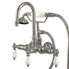 kingston brass 3 handle claw foot tub faucet with handshower in chrome