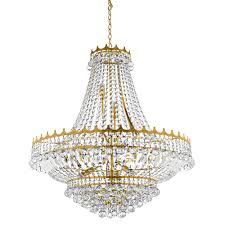 versailles 13 light ceiling pendant chandelier gold finish with clear crystal decoration