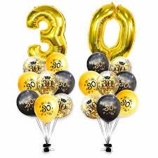 Zljq 30th Birthday Decorations Rose Gold 30 And Happy Birthday Confetti Balloons Banner Great For 30 Anniversary Party Supplies