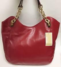michael kors lilly large tote leather dark red shoulder handbag purse