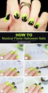 Mystical Flame Halloween Nails - Tutorial