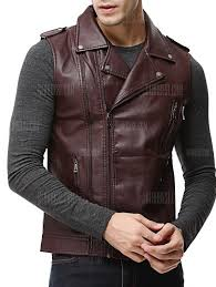 men s clothing epaulet design asymmetrical zip faux leather vest wine red l gyvuus