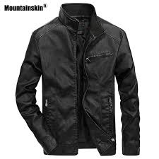 mountainskin mens leather jackets stand collar pu coat male motorcycle leather jacket casual slim mens brand