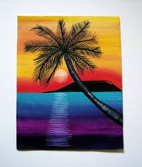 colorful island sunset 11 x 14 painting yellow and orange sunset aqua blue and purple ocean black silhouette island palm tree this painting is